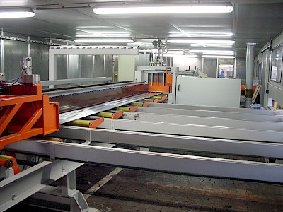 Sawing line for heavy profiles